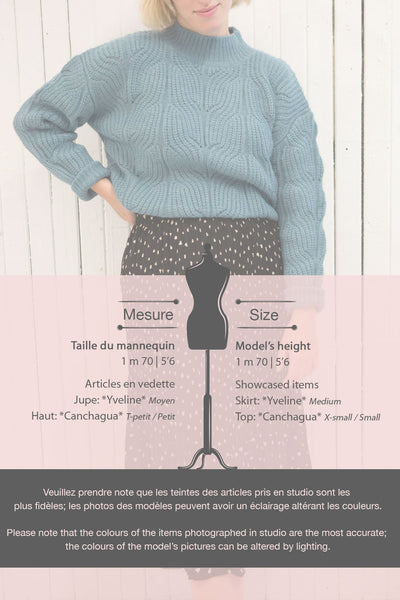 Canchagua Blue Mock Neck Knit Sweater | La petite garçonne  size