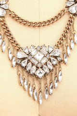 Candelabrum - Clear crystals ornament necklace