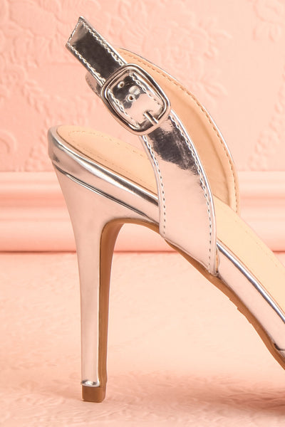 Candice Silver High Heels | Talons Hauts | Boutique 1861 side back view