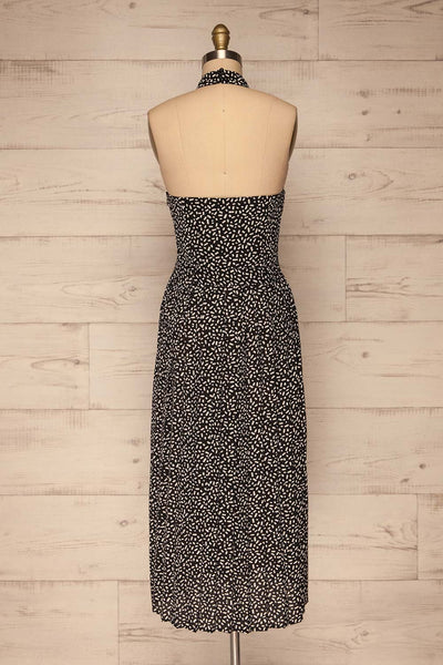 Capulicrin Black & White Halter Midi Dress back view | La petite garçonne