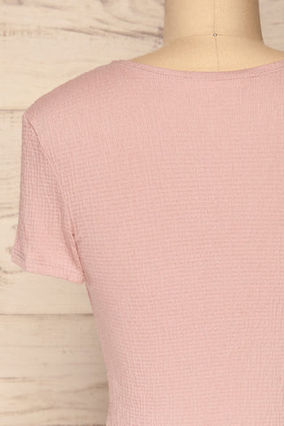 Cardiff Mauve Lilac V-Neck Knotted Top | La Petite Garçonne back close-up