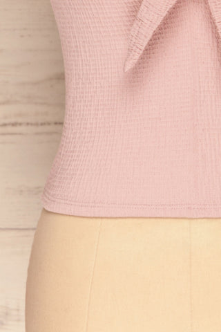 Cardiff Mauve Lilac V-Neck Knotted Top | La Petite Garçonne bottom close-up