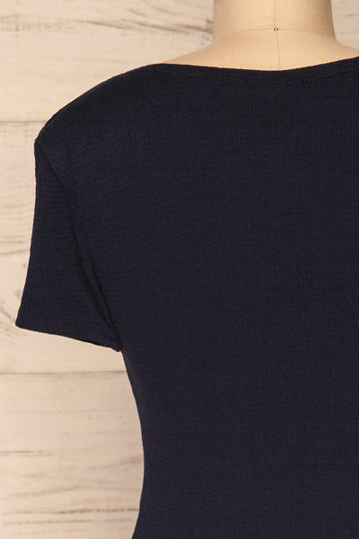 Cardiff Navy Blue V-Neck Knotted Top | La Petite Garçonne back close-up