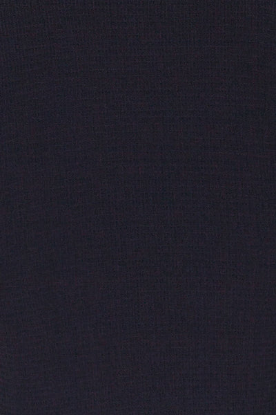 Cardiff Navy Blue V-Neck Knotted Top | La Petite Garçonne fabric detail