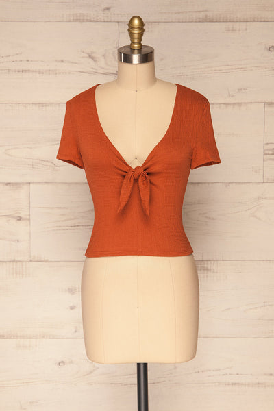 Cardiff Rust Orange V-Neck Knotted Top | La Petite Garçonne front view