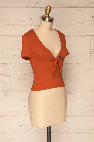 Cardiff Rust Orange V-Neck Knotted Top | La Petite Garçonne side view