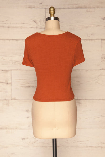 Cardiff Rust Orange V-Neck Knotted Top | La Petite Garçonne back view