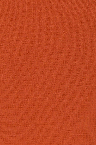 Cardiff Rust Orange V-Neck Knotted Top | La Petite Garçonne fabric detail