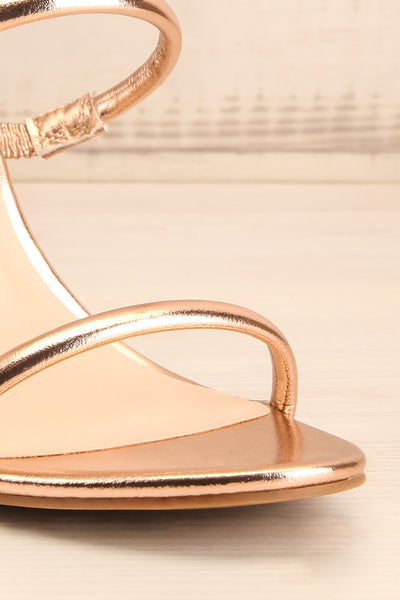 Cariaco Rosegold Stiletto Heel Sandals | La petite garçonne front close-up