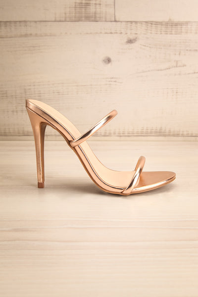 Cariaco Rosegold Stiletto Heel Sandals | La petite garçonne side view