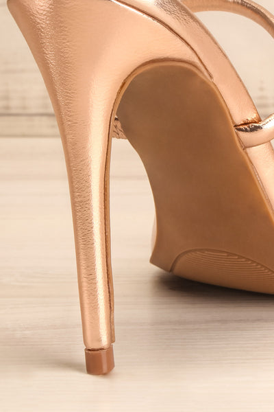 Cariaco Rosegold Stiletto Heel Sandals | La petite garçonne back close-up