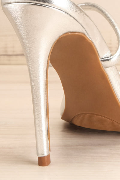 Cariaco Silver Stiletto Heel Sandals | La petite garçonne back close-up