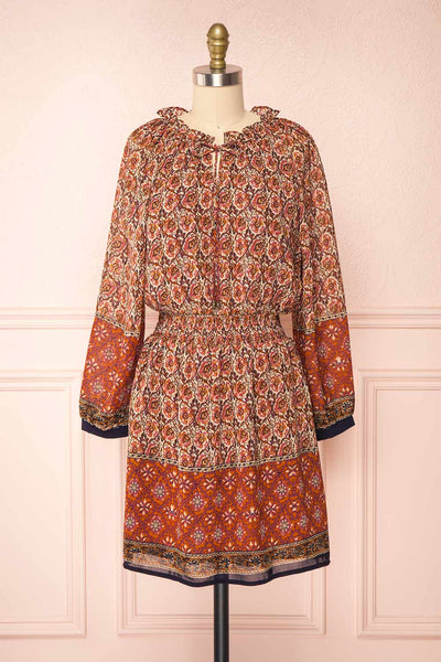 Carlota Paisley Long Sleeve Short Dress | Boutique 1861 front view