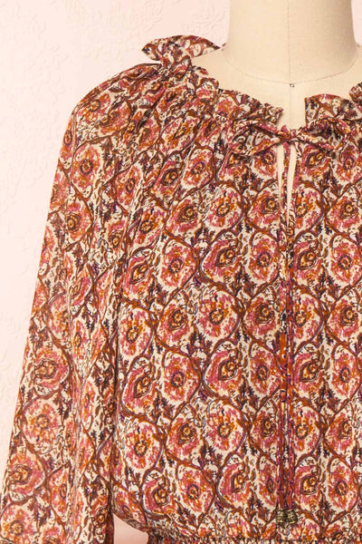 Carlota Paisley Long Sleeve Short Dress | Boutique 1861  front close-up