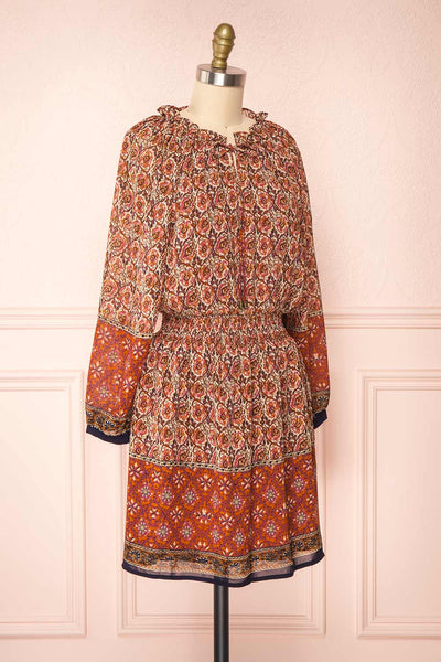 Carlota Paisley Long Sleeve Short Dress | Boutique 1861 side view