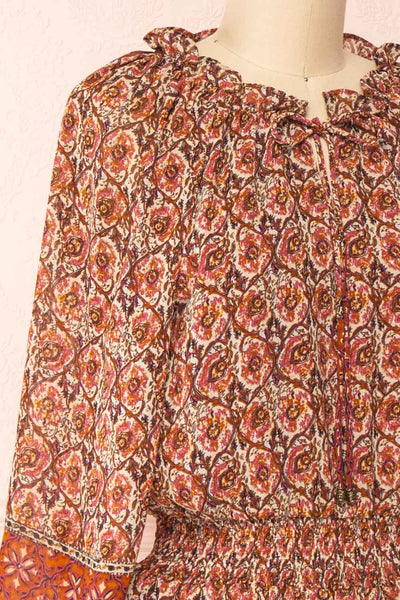 Carlota Paisley Long Sleeve Short Dress | Boutique 1861 side close-up