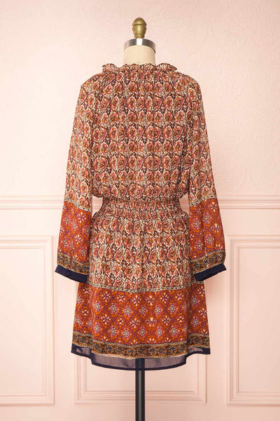 Carlota Paisley Long Sleeve Short Dress | Boutique 1861 back view