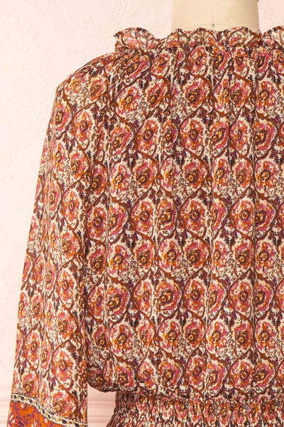 Carlota Paisley Long Sleeve Short Dress | Boutique 1861 back close-up