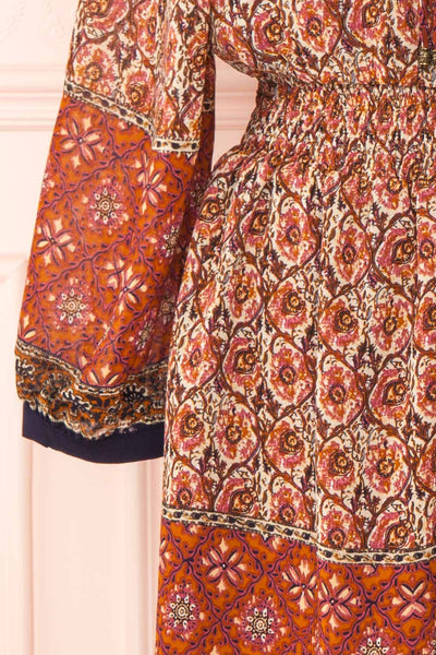 Carlota Paisley Long Sleeve Short Dress | Boutique 1861 sleeve