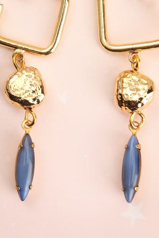 Carmel Myers Gold & Blue Pendant Earrings | La Petite Garçonne 2