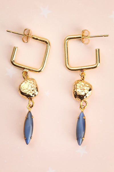 Carmel Myers Gold & Blue Pendant Earrings | La Petite Garçonne 1