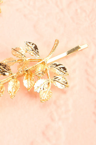 Carondelet Set of 2 Golden Branch Hair Pins close-up | Boudoir 1861