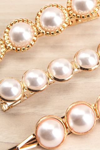 Cashatoma Set of Pearl & Golden Hair Clips close-up | La Petite Garçonne