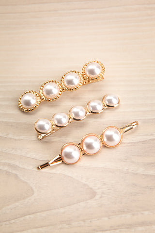 Cashatoma Set of Pearl & Golden Hair Clips | La Petite Garçonne