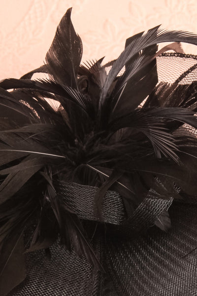 Casseille Black Fascinator w/ Feathers | Boudoir 1861 flat close-up