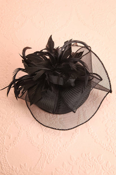 Casseille Black Fascinator w/ Feathers | Boudoir 1861 flat view