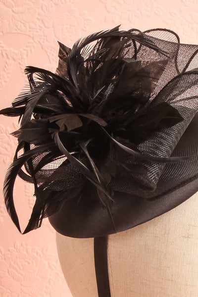 Casseille Black Fascinator w/ Feathers | Boudoir 1861 close-up