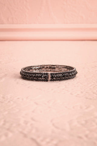 Causa Noir Dark Crystal Studded Silver Bangle Bracelet | Boudoir 1861