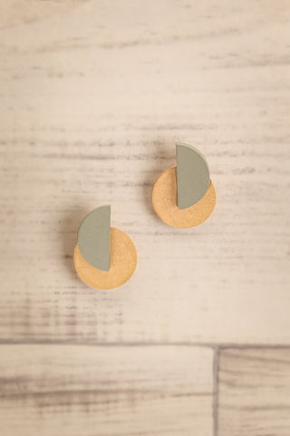 Cederus Golden & Grey Geometric Pendant Earrings | La Petite Garçonne