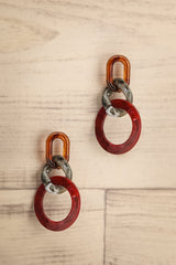 Ceiba Red Marbled Statement Pendant Earrings | La Petite Garçonne