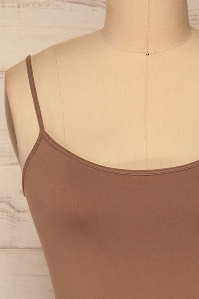 Cento Brown Bralette Crop Top | La petite garçonne front close-up