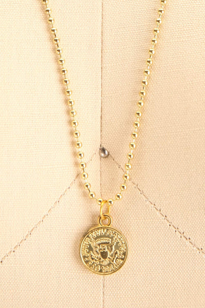 Centum Gold Medallion Pendant Necklace close-up | La Petite Garçonne