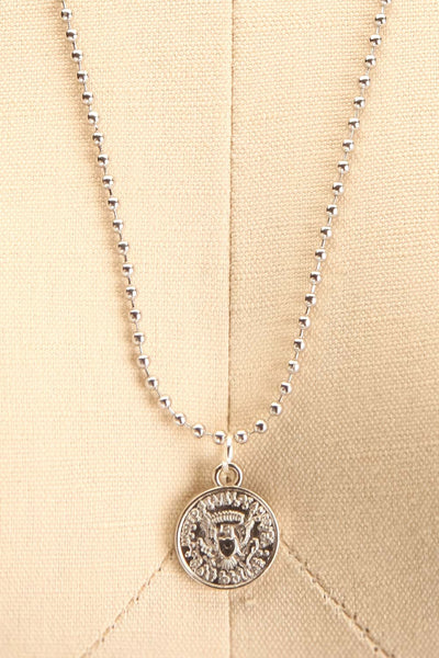 Centum Silver Medallion Pendant Necklace close-up | La Petite Garçonne