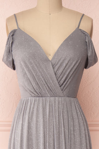 Cephee Grey Glitter Dress | Robe à Brillants | Boutique 1861 front close-up