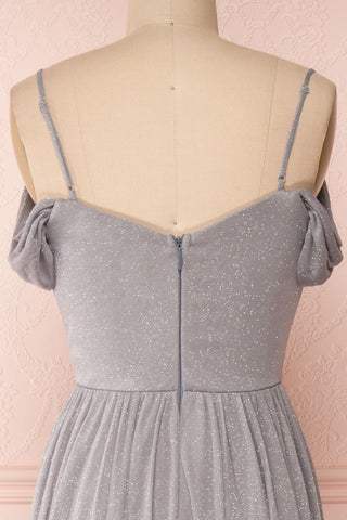 Cephee Grey Glitter Dress | Robe à Brillants | Boutique 1861 back close-up