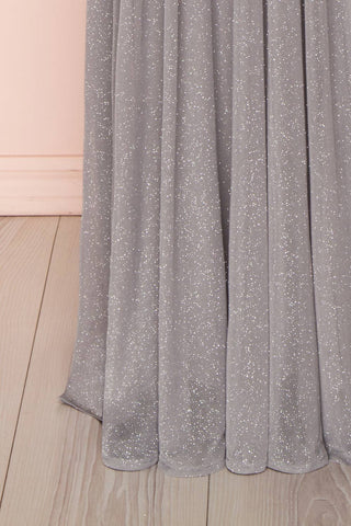 Cephee Grey Glitter Dress | Robe à Brillants | Boutique 1861 bottom close-up