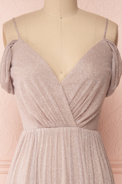 Cephee Taupe Glitter Dress | Robe | Boutique 1861 front close-up