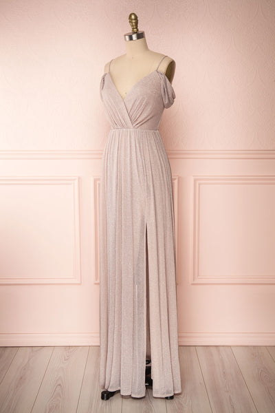 Cephee Taupe Glitter Dress | Robe | Boutique 1861 side view