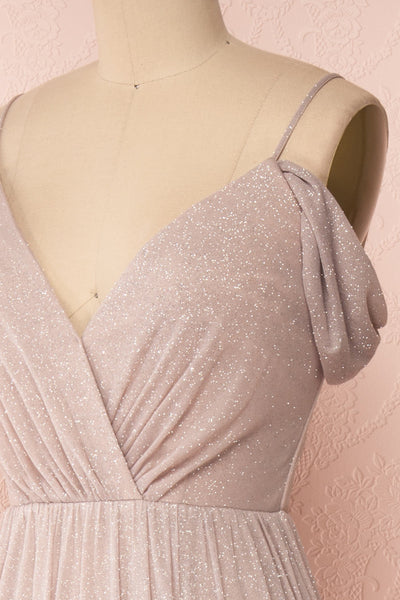 Cephee Taupe Glitter Dress | Robe | Boutique 1861 side close-up