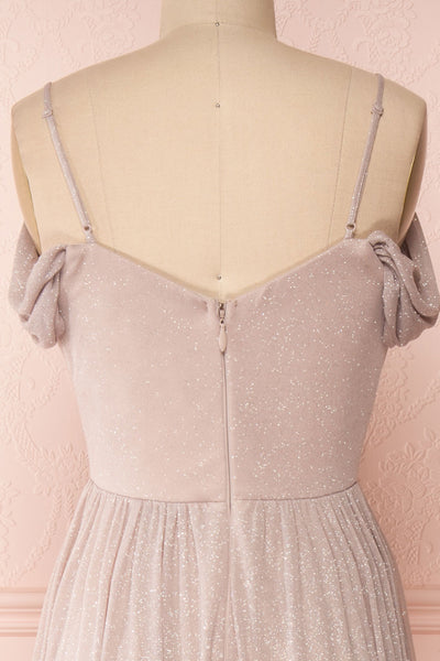 Cephee Taupe Glitter Dress | Robe | Boutique 1861 back close-up