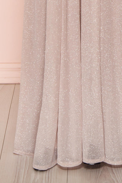 Cephee Taupe Glitter Dress | Robe | Boutique 1861 bottom close-up