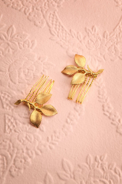 Ceta Gold Hair Combs Set with Leaves | Boudoir 1861