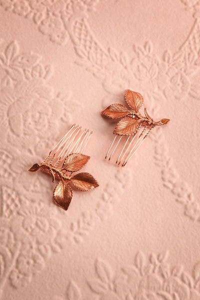 Ceta Rosegold Hair Combs Set with Leaves | Boudoir 1861