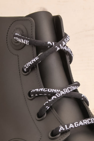 Chalabre Black Lace-Up Ankle Boots shoelace close-up | La Petite Garçonne Chpt. 2