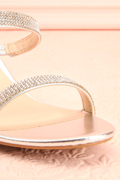 Chamfort Silver Slip-On Block Heel Sandals | Boutique 1861 front close-up