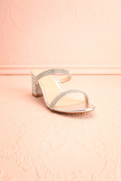 Chamfort Silver Slip-On Block Heel Sandals | Boutique 1861 front view